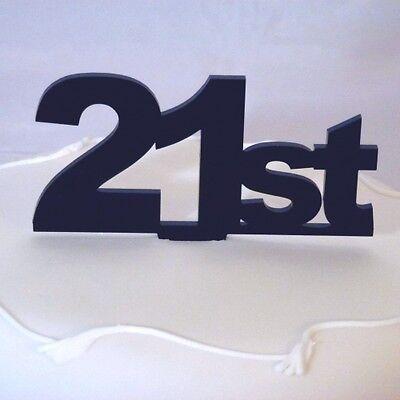 21st Cake Topper Black Acrylic 6cm Height inc Spike 10cm x 12cm