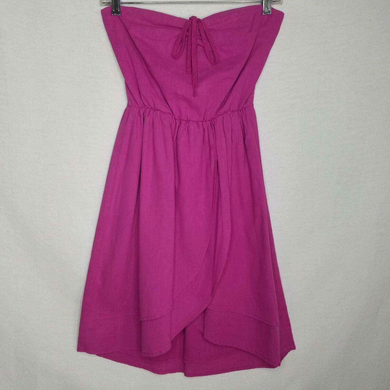 Patterson J Kincaid Strapless Overlap Dress Linen Blend Pink Size Small A406P