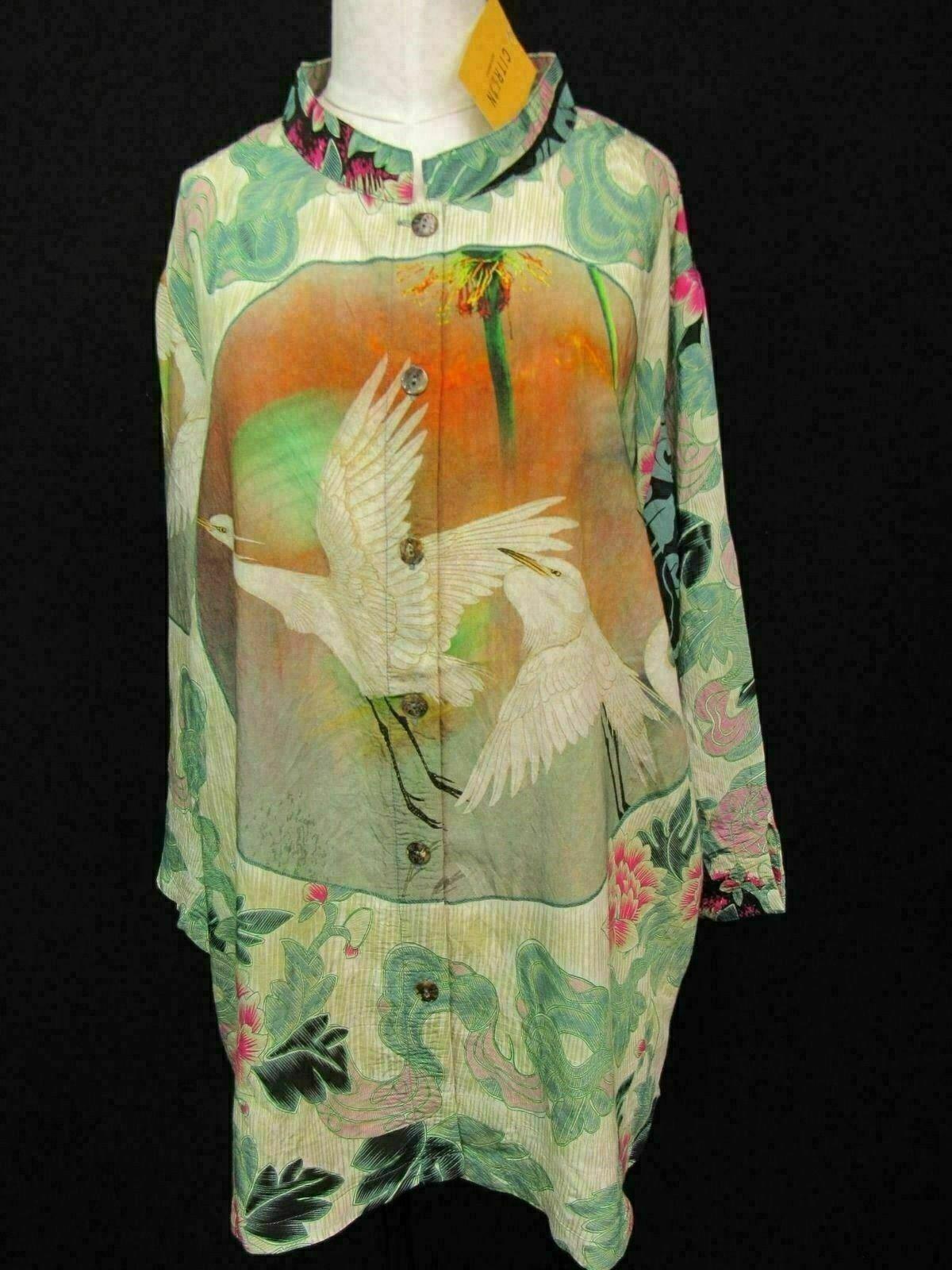 Citron Of Santa Monica Stunning Enchanted Garden Crane Tunic Blouse 2X NWT