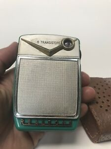 VTG-REALTONE-TURQUOISE-6-Transistor-Radio-amp-Case-Hand-Held-Rare
