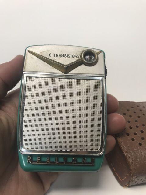 VTG REALTONE TURQUOISE 6 Transistor Radio & Case Hand Held Rare