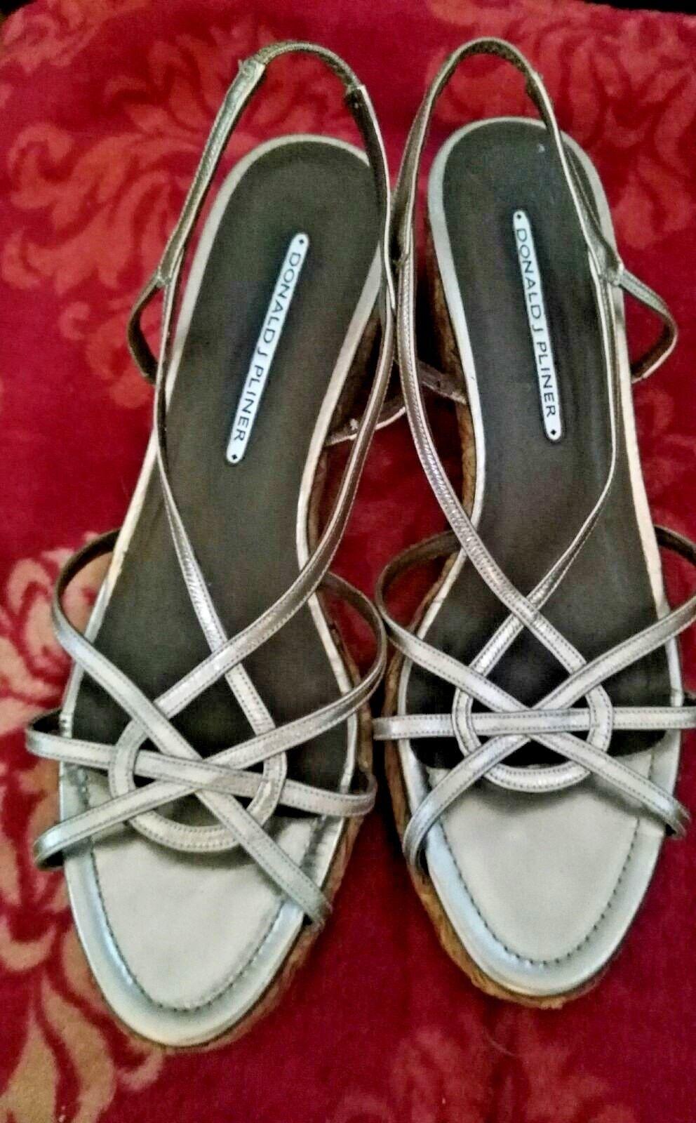 Womens Donald Pliner Pliner Pliner Kiro Metal Leather 10 M Sandals Basket Weave acd749