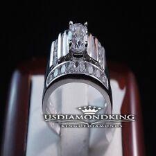 2 PCS LADIES WOMEN'S WHITE GOLD FINISH STERLING SILVER DUO WEDDING BAND RING SET