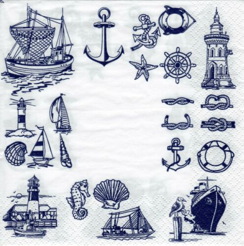 4x Designer PAPER NAPKINS for Decoupage NAUTICAL MARITIME BLUE ICONS