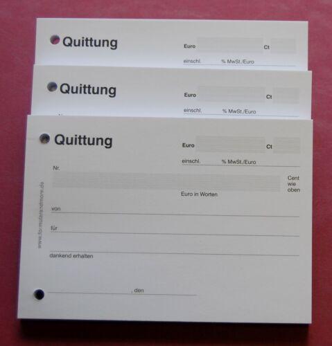 EINFACH,QUITTUNG,Quittungsbeleg,Quittungsblöcke 3x QUITTUNGSBLOCK mit 100 BLATT