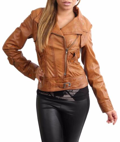 Lamb Tan Nappa Womens Leather Ladies Coat Fitted Length Jacket Biker Waist FU1qA8