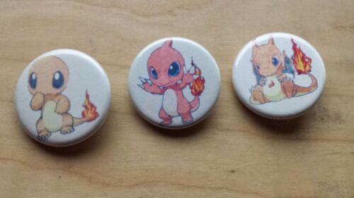 "Pokemon Charmander Charmeleon Charizard Pin Button 1-1//4/"" New Unused Handmade"