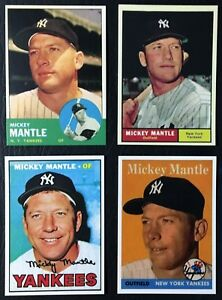 Details About 4 Card Lot 1958 1961 1963 1967 Topps Mickey Mantle Reprints Mint