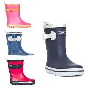 Trespass-Trumpet-Kids-Waterproof-Rain-Wellies-Boys-Girls-Rubber-Wellington-Boot