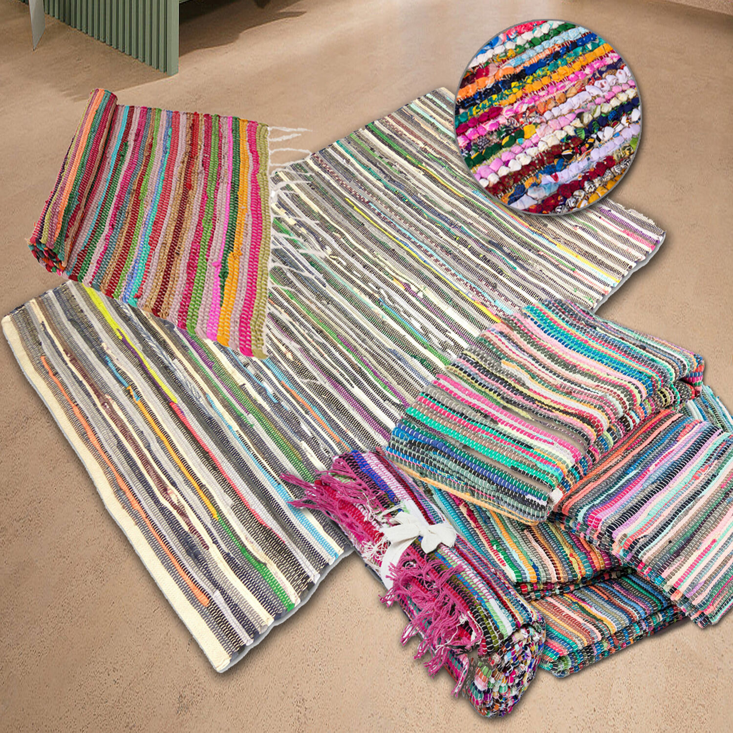 MULTI COLOURED HAND LOOMED INDIAN CHINDI STRIPED RAG RUGS