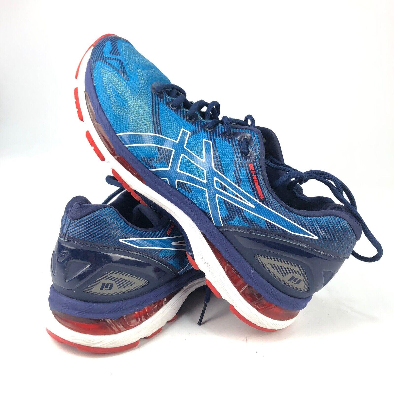 Asics Gel-Nimbus 19 zapatos atléticos para hombre Talla 11.5 Azul blancoo Indigo T700N