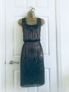 Monsoon-Noir-or-Sequin-Artisan-Main-Perle-Grec-Occasion-Robe-Mi-Longue