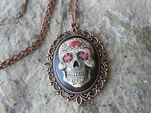 cde3ccbfe Image is loading MEXICAN-SUGAR-SKULL-HAND-PAINTED-CAMEO-COPPER-PENDANT-