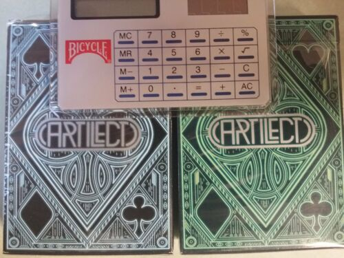 Lot 2 ARTILECT Decks of Playing Cards Blue /& Green Bicycle Rare with Calculator