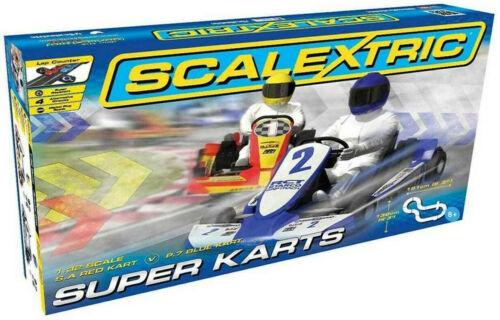 Scalextric Super Karts Go Kart 1:32 Scale Slot Car Race Set C1334T