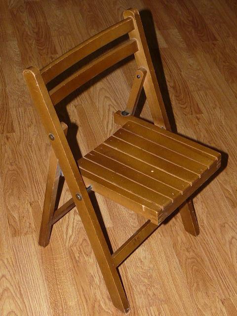 Vintage Childs - Kids Wooden Slat Folding Toddler Wood Chair Antique Seat