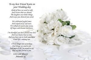 Personalised Poem To Sister Or Best Friend On Wedding