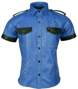PREMIUM-Mens-Hot-Genuine-Real-Blue-Sheep-LEATHER-Police-Uniform-Shirt-BLUF-Gay