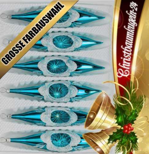 """Glas-Zapfen Christbaumkugeln Set in """"Hochglanz Vintage Türkis"""" 6 tlg"""