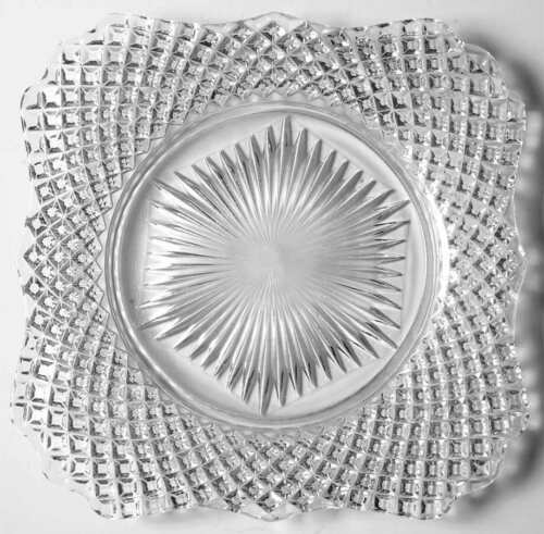 ROUND BASE Square Plate 4505583 Westmoreland ENGLISH HOBNAIL CLEAR