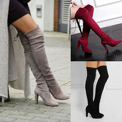 VINTAGE WOMEN THIGH HIGH OVER THE KNEE LONG LACE UP BLOCK HEEL BOOTS SHOES HOT