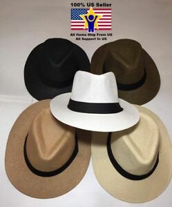 3d22393f278d2 Women Men Brown Fedora Trilby Gangster Cap Summer Beach Sun Straw ...