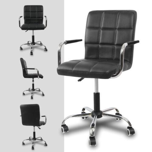 PU Leather High Back Office Chair Adjustable Swivel Computer Desk Armchair Black