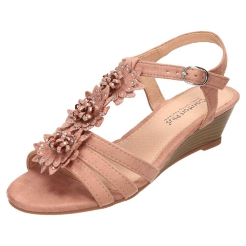 Comfort Plus Wide Fit Slingback Wedge Heel Open Toe Strappy Sandals Shoes Sequin