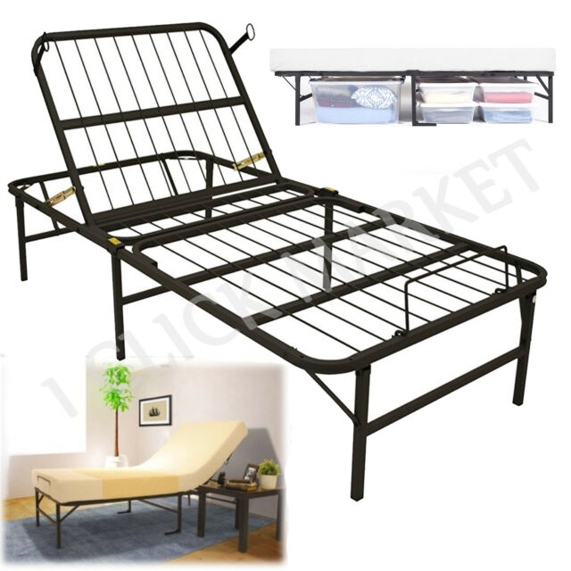 Twin Size Adjustable Bed Frame Easy Head Lift Control Metal Platform ...