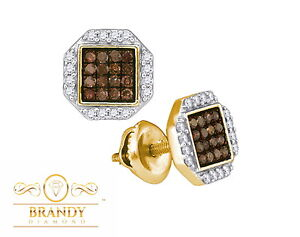 Image Is Loading Brandy Diamond Chocolate Brown 10k Yellow Gold Fancy
