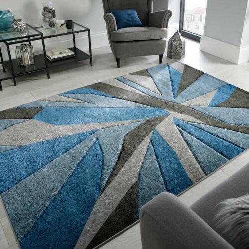 Contemporary Blue Grey Art Deco Living Room Rugs Soft Small Large Geometric Rug
