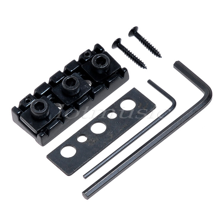 2 black metal electric guitar string locking nut height adjustable 6 string 42 5 ebay. Black Bedroom Furniture Sets. Home Design Ideas
