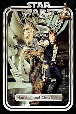 Star Wars - Han And Chewie Retro - Poster - Größe 61x91,5 Cm Dauerhaft Im Einsatz