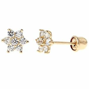 Image Is Loading 14k Real Yellow Gold Flower Post Stud