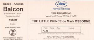 Ticket-billet-collector-Le-Petit-Prince-de-by-Mark-OSBORNE-Cannes-Film-Festival