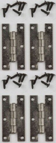 """Pewter - Dollhouse Miniature /""""H/"""" Hinges with Nails 4 pk #05567-1:12 Scale"""