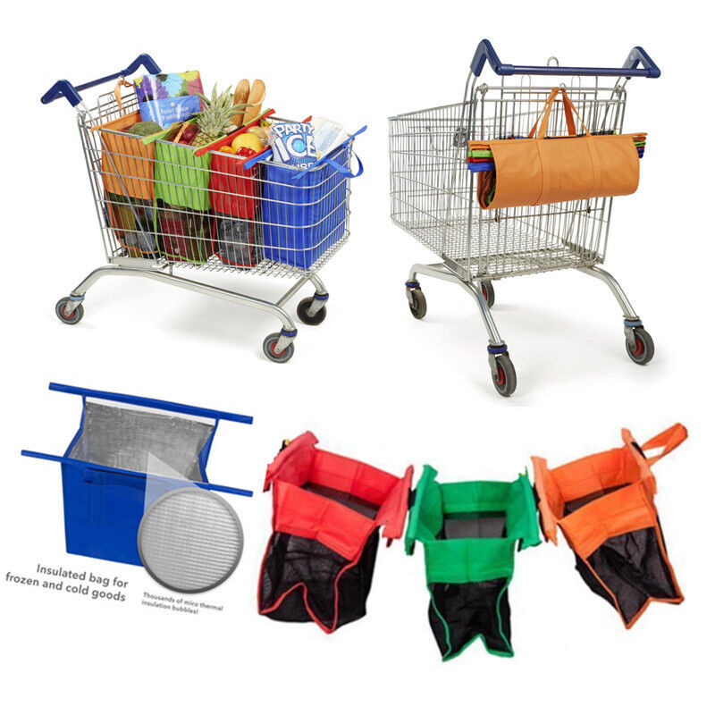 Set Of 4 Shopping Bags,trolley Carrier 4color Reusable