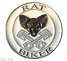 Rat Biker Rat Look Rider Custom Bike Motorcycle Motorbike Metal Rocker Badge