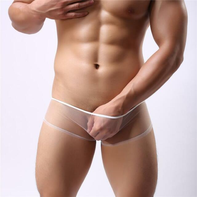 Sexy Purple Transparent Mens Boxers Shorts See Through Mesh Boxers Briefs Hot