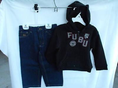 BNWOT Boys Sz 5 Fubu Brand Denim Jeans and Black Hoodie Set