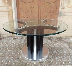 Vintage Design Splendido Tavolo rotondo anni \'70, piano in vetro | eBay