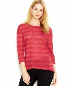 New-Womens-Maison-Jules-3-4-Sleeve-Semi-Sheer-Striped-Sweater-Knit-Top-Red-Xs