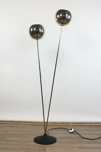 chrom kugel boden leuchte steh lampe vintage floor lamp 60er 70er jahre ebay. Black Bedroom Furniture Sets. Home Design Ideas