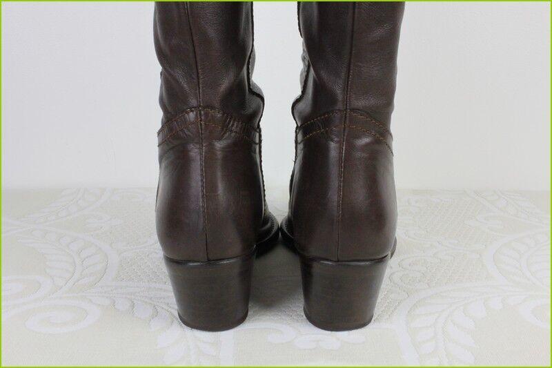 Stiefel alle flexibel Leder braun Nietenbesetzt Stengel flexibel alle Zustand t 39 206681