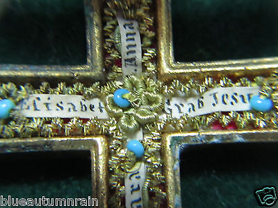 "† ANTIQUE BRASS ""TOMB OF JESUS"" WITH 6 SAINTS RELIC RELIQUARY CRUCIFIX HOLDER †"