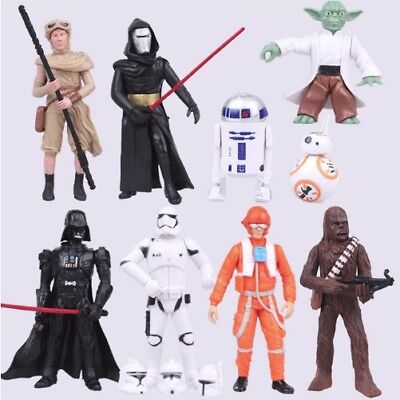 STAR WARS 9pc Action Figures The Last Jedi Yoda Rey Darth Vadar BB8 Kylo