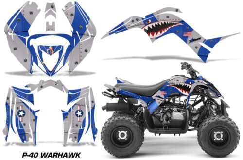 Graphics Kit Decal Sticker Wrap For Yamaha Raptor 90 YFM90 2016-2018 WARHAWK BLU
