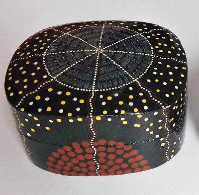 Papier mache trinket box Australian aboriginal art Indian lacquer work Tobwabba