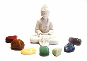 REIKI-ENERGY-CHARGED-CHAKRA-TUMBLE-STONE-SET-OF-7-STONES-WITH-WHITE-BUDDHA