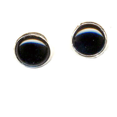 8 mm Round Black Genuine Onyx Cabshon Stone Sterling Silver Post Earrings